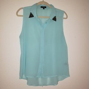 Active Womens Sz Large Aqua Sheer Top w Beads